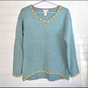Sundance Geometric Print V-neck Sweater